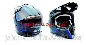 Кроссовый мотошлем 806 Spider Blue глянец S/M