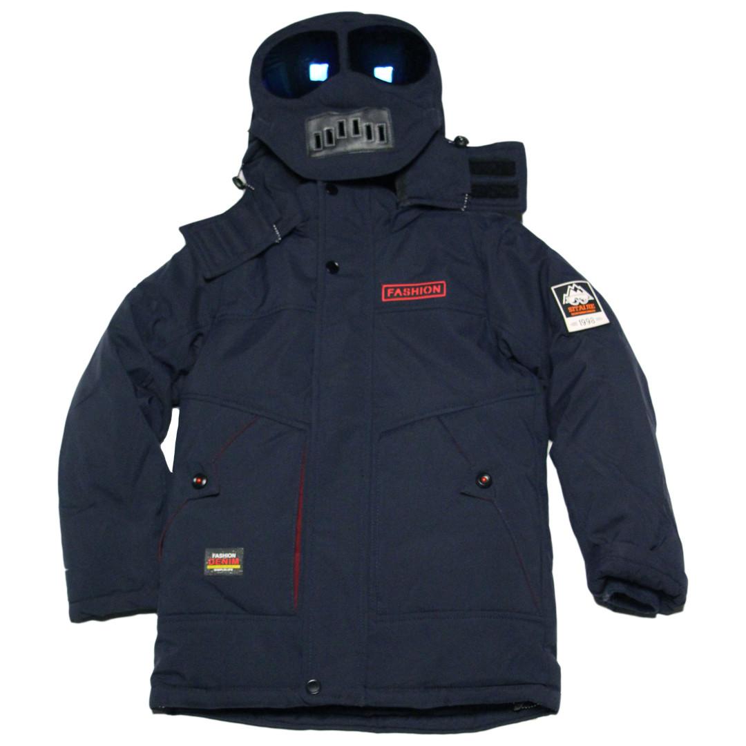Детская зимняя куртка с очками для мальчика 134 рост синяя