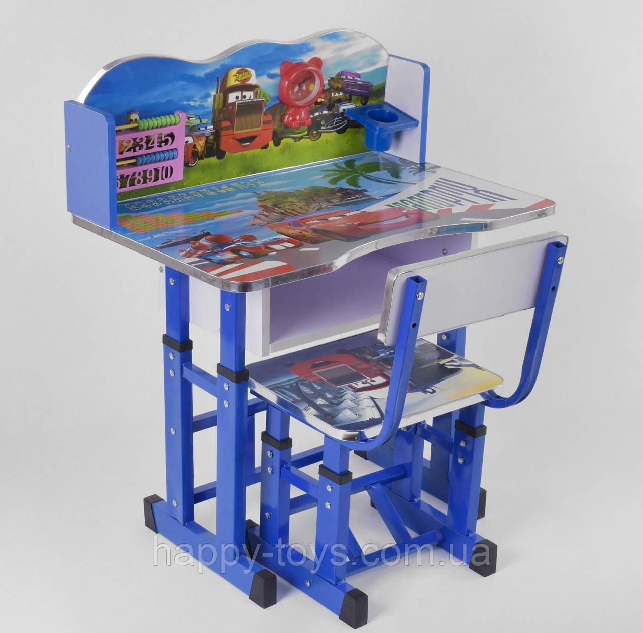 Школьная парта стол со стульчиком Тачки с регулировкой высоты, парта школьная для дома B 10555