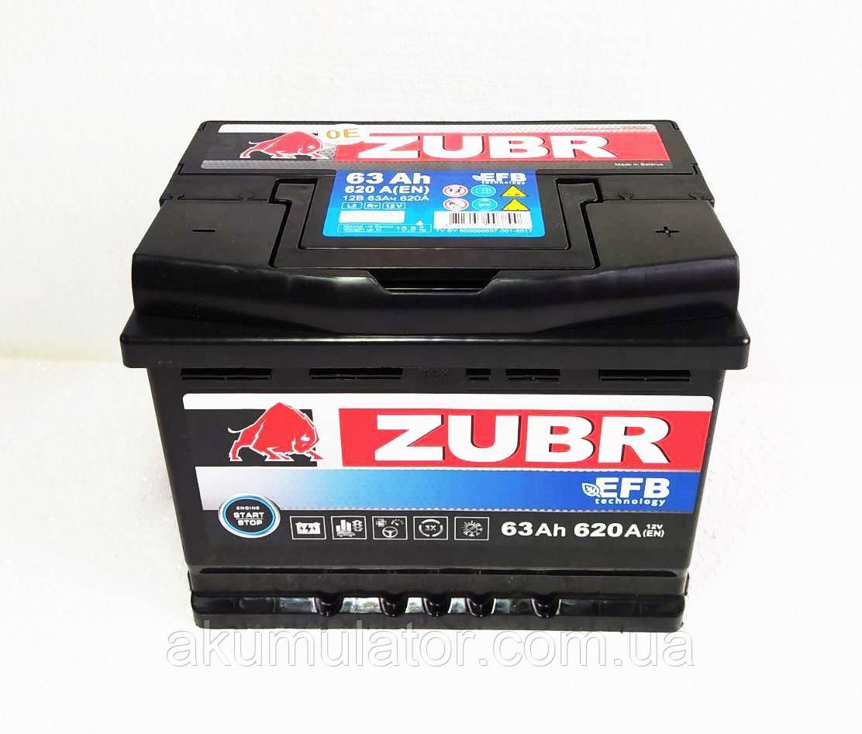 Акумулятор автомобільний ZUBR EFB 63-0 (R+) (620А)