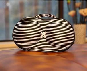 Органайзер сумка SaveBox для бюстгальтеров черно-белая полоска (с сеточкой)