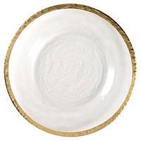 Підставна тарілка REMY-DECOR Torino скла з золотим обідком для весіль 33 см