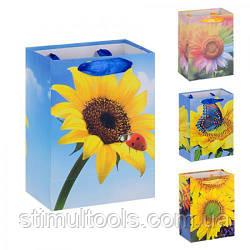 "Пакет подарунковий паперовий Stenson ""Соняшник"" 11*15 см (12 штук в упаковці)"