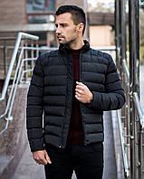 Куртка зимняя мужская до -2*С теплая Geneva черная   Зимний пуховик мужской без капюшона    ЛЮКС качества