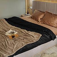 Комплект постельного белья из страйп - сатина 100% хлопок, постельное белье черный + золотистый капучино