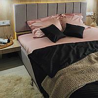 Комплект постельного белья из страйп - сатина 100% хлопок, постельное белье черный + розовый жемчуг