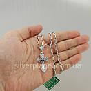 Комплект!!! Срібний ланцюжок з хрестиком. Чоловіча якірна ланцюг і хрестик з жорстким вушком., фото 3