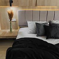 Комплект постельного белья из страйп - сатина 100% хлопок, постельное белье черный + стальной