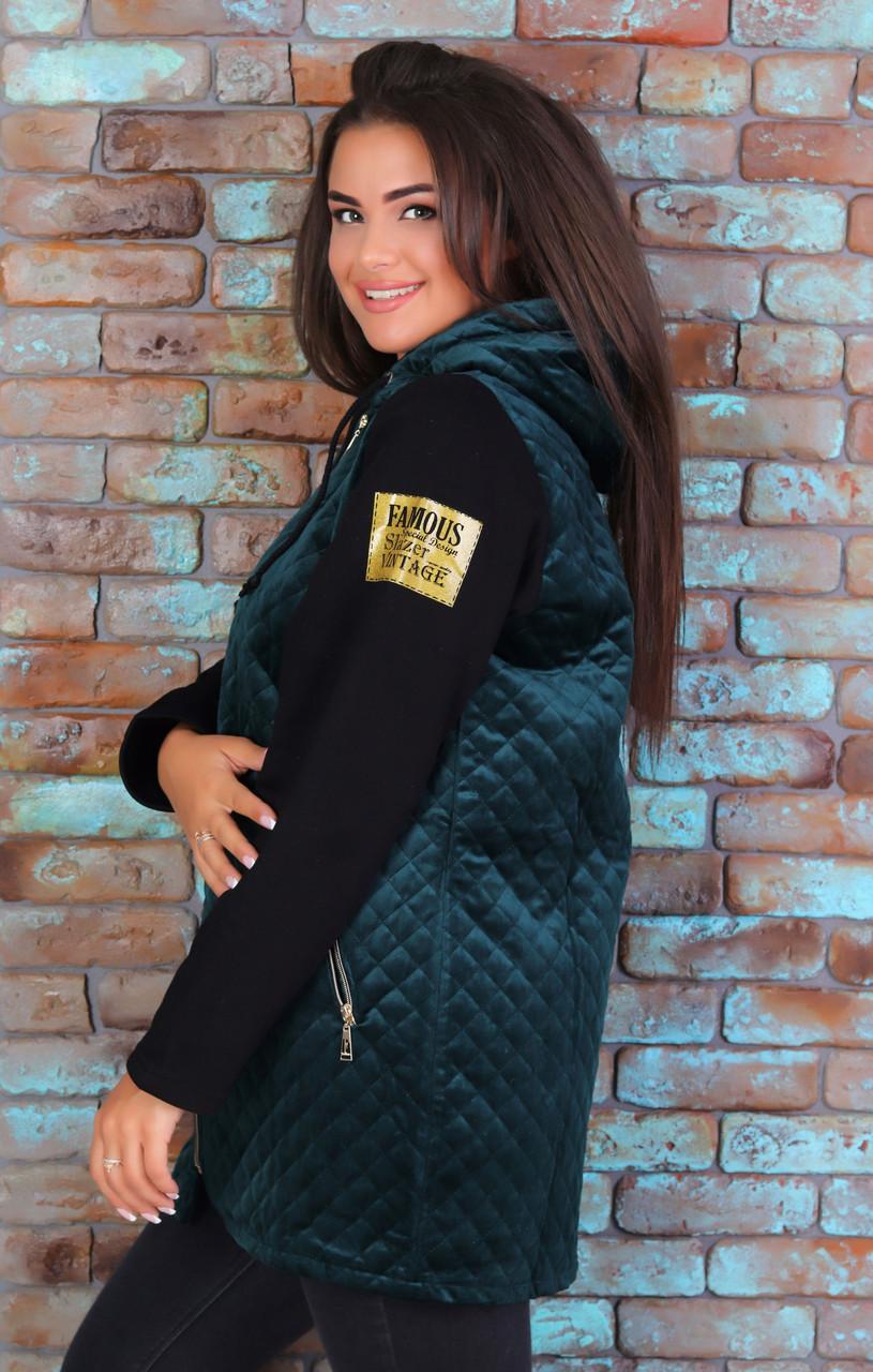 Тепла жіноча куртка з пальтові велюру на синтепоні і трикотажу тринитка