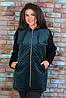 Тепла жіноча куртка з пальтові велюру на синтепоні і трикотажу тринитка, фото 5