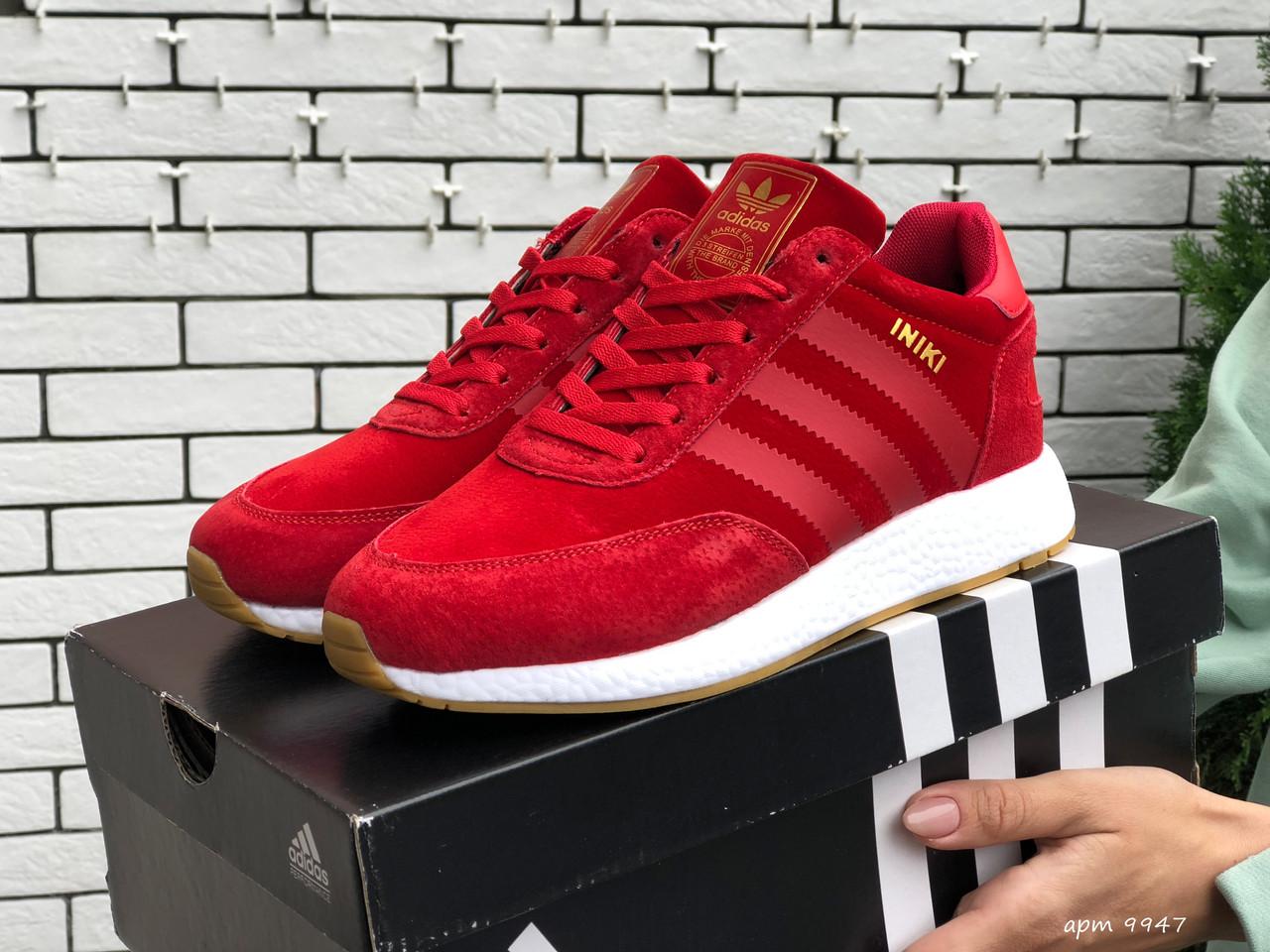 Зимние женские кроссовки Adidas Iniki red (Мех). [Размеры в наличии: 36,37,38,39,40,41]