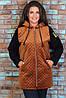 Тепла жіноча куртка з пальтові велюру на синтепоні і трикотажу тринитка, фото 3