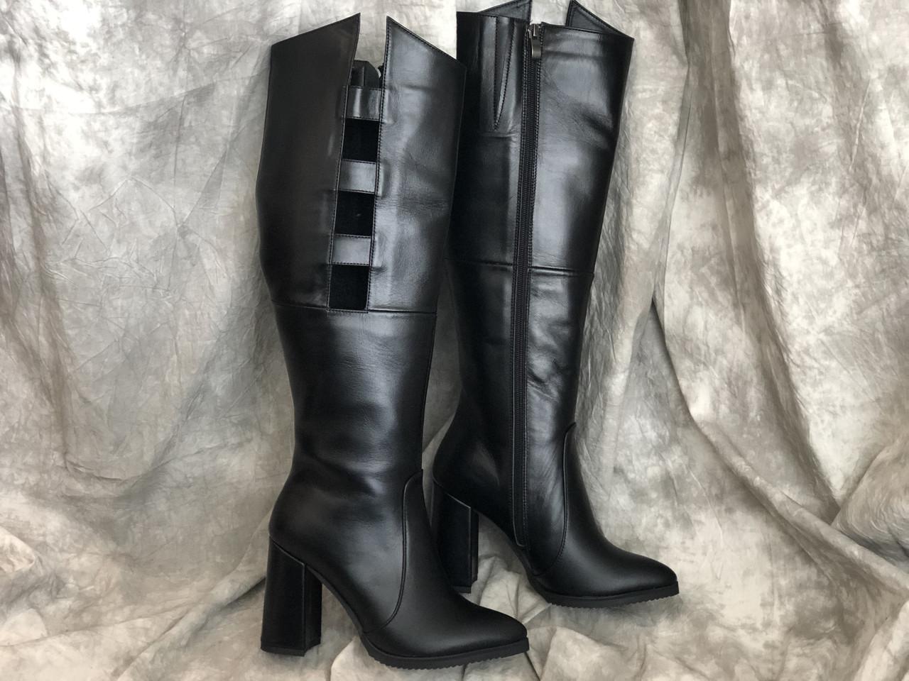 Кожаные Женские сапоги з натуральной кожи 0021 ч/к размеры 35-40