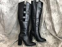 Кожаные Женские сапоги з натуральной кожи 0021 ч/к размеры 35-40, фото 1