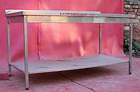 Производственный стол из нержавеющей стали с полкой 1800х600х850 мм., (Украина), Б/у