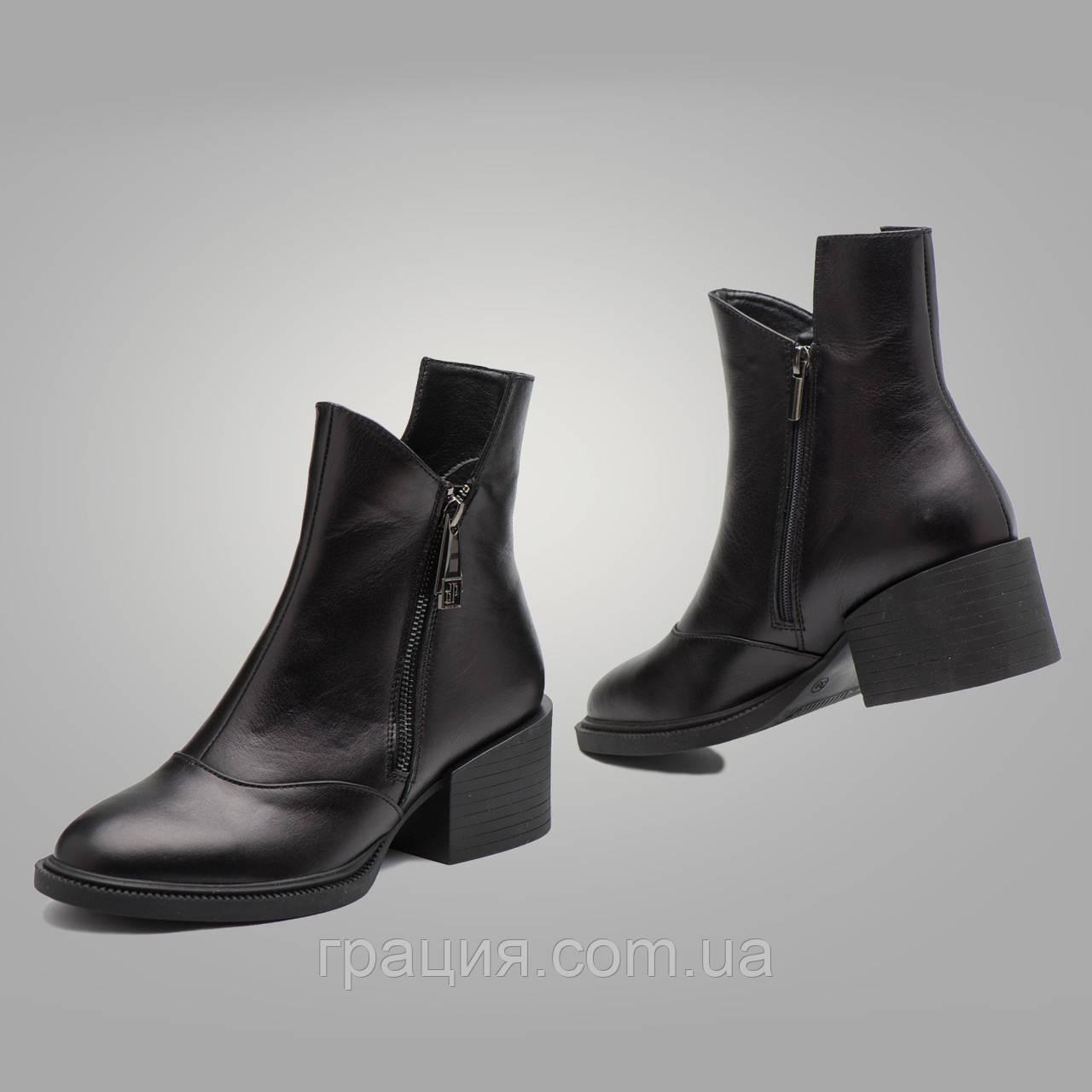 Стильные кожаные молодежные  зимние ботинки