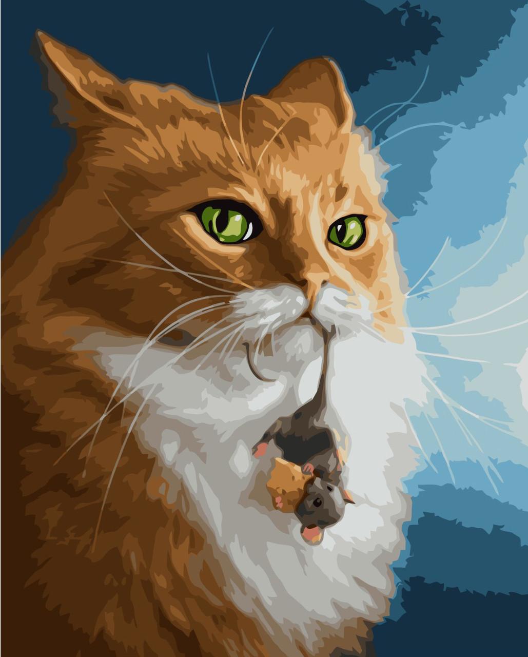 Картина по номерам VA-2032 Кот и мыша, 40х50см. Strateg
