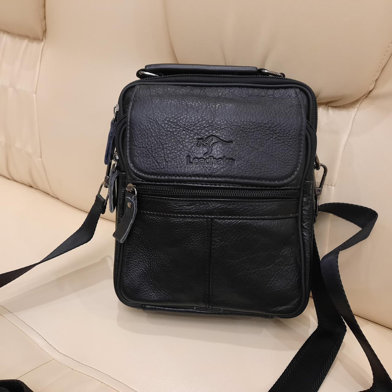 Молодежная классическая кожаная мужская сумка