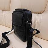 Молодежная классическая кожаная мужская сумка, фото 3