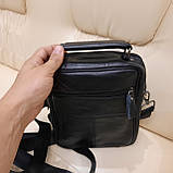 Молодежная классическая кожаная мужская сумка, фото 4