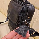 Молодежная классическая кожаная мужская сумка, фото 5