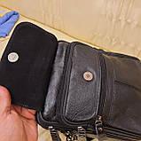 Молодежная классическая кожаная мужская сумка, фото 6
