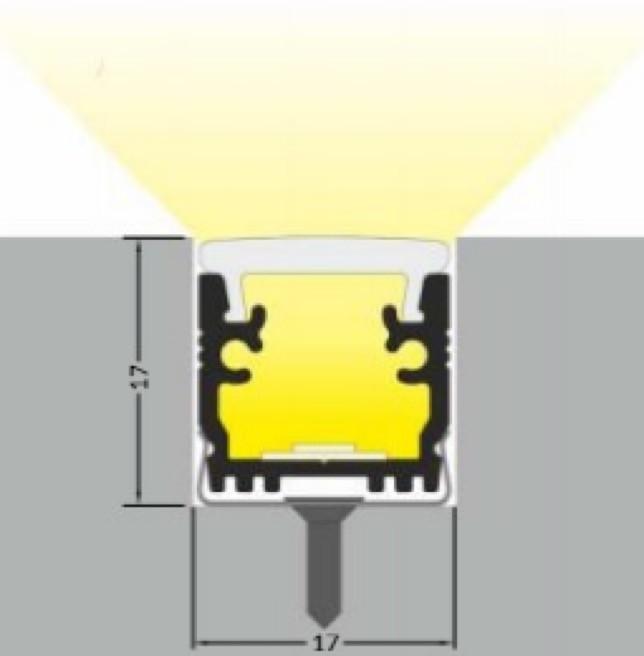 Профиль врезной с рассеивателем в пол 16x14 lp F 1614