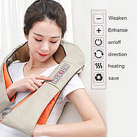 Массажер для шеи, плеч и спины с ИК-подогревом LaGuerir 6 кнопок, фото 1