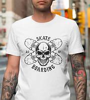 Модная мужская футболка с скейтерским принтом