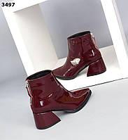 Жіночі демісезонні черевики на підборах( замша+шкіра лак) 36,38 р марсала, фото 1