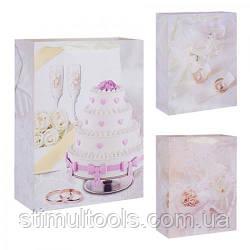 "Пакет подарунковий паперовий Stenson ""Wedding cake"" 18*23 см (12 штук в упаковці)"