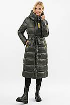 Зимова жіноча подовжена куртка Хакі на тинсулейте нижче коліна Розміри 42 52, фото 2