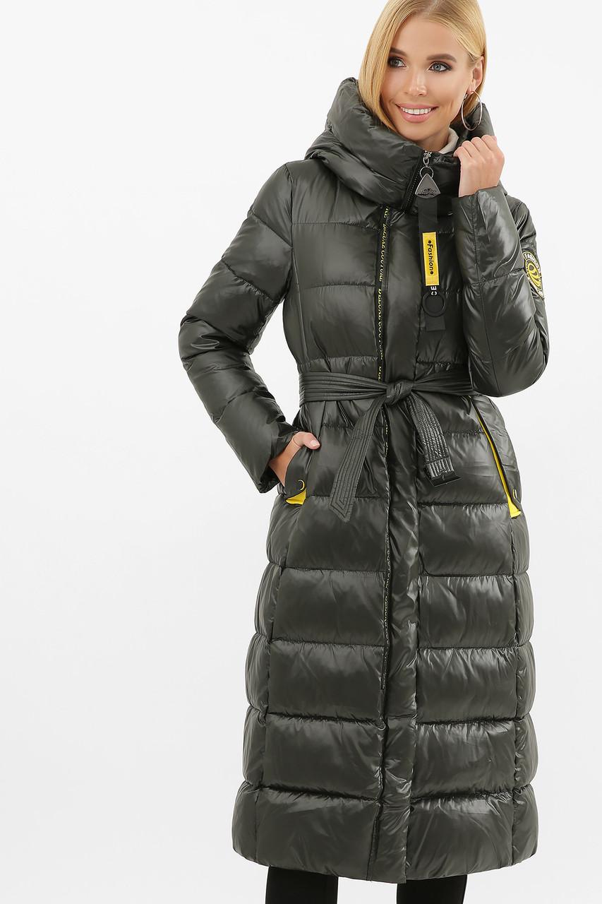 Зимова жіноча подовжена куртка Хакі на тинсулейте нижче коліна Розміри 42 52