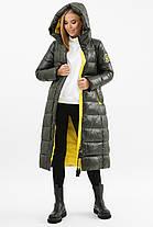 Зимова жіноча подовжена куртка Хакі на тинсулейте нижче коліна Розміри 42 52, фото 3