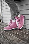 Ботинки женские зимние Timberland pink termo (Реплика ААА), фото 2
