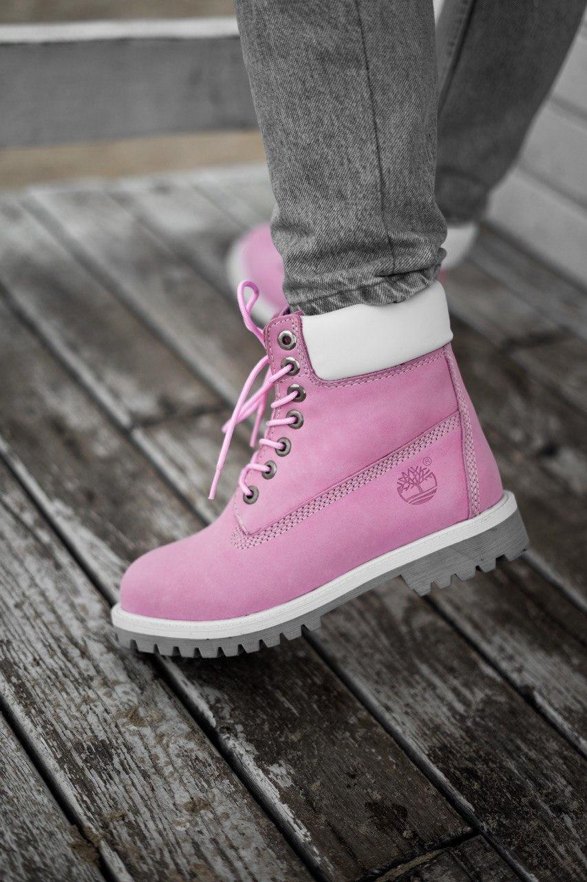 Ботинки женские зимние Timberland pink termo (Реплика ААА)