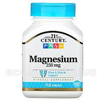 """Магний """"21st Century"""" 250 мг 110 таблеток, фото 1"""