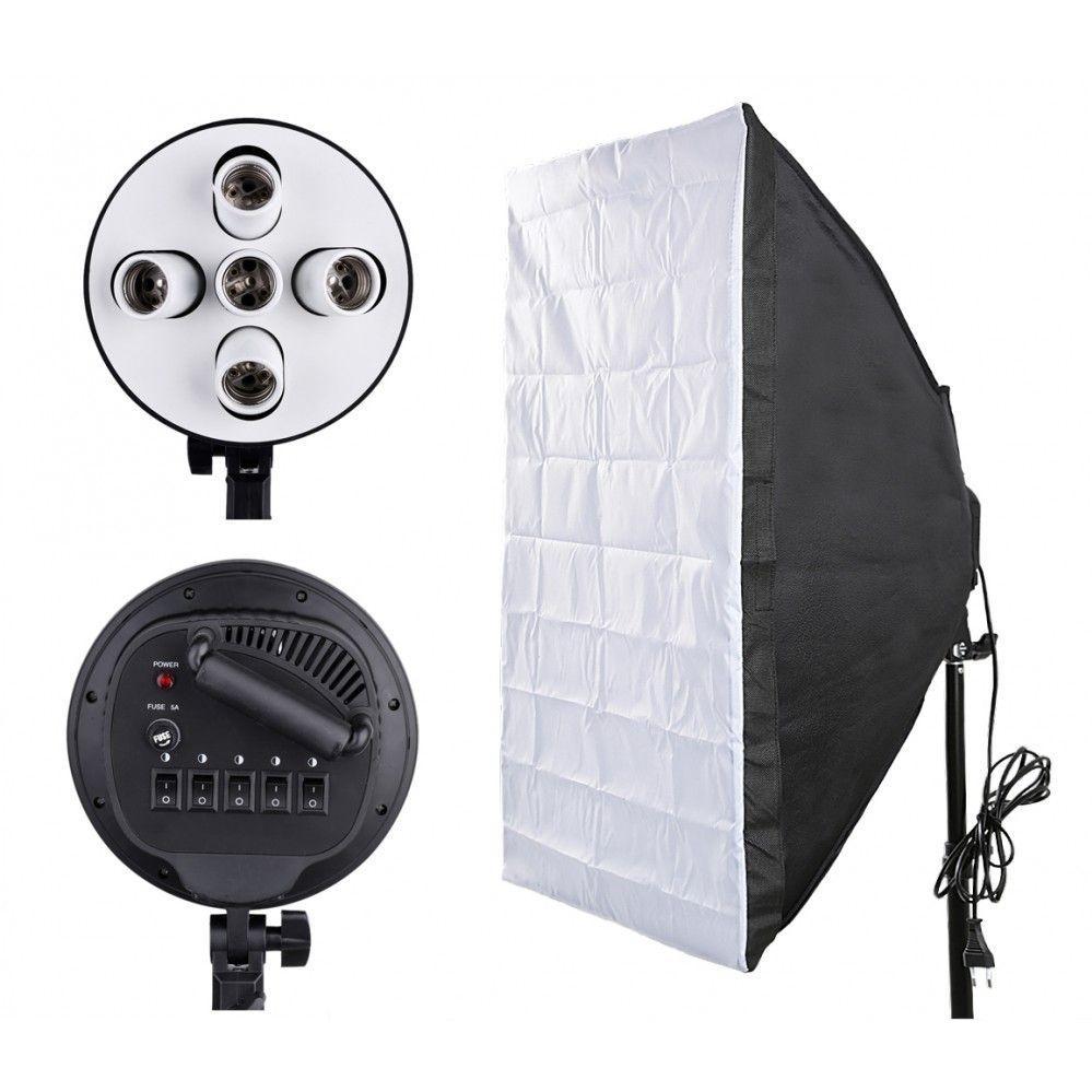 Софтбокс (Softbox) 60x90 см на 5 ламп E27. Постійний студійне світло зі стійкою