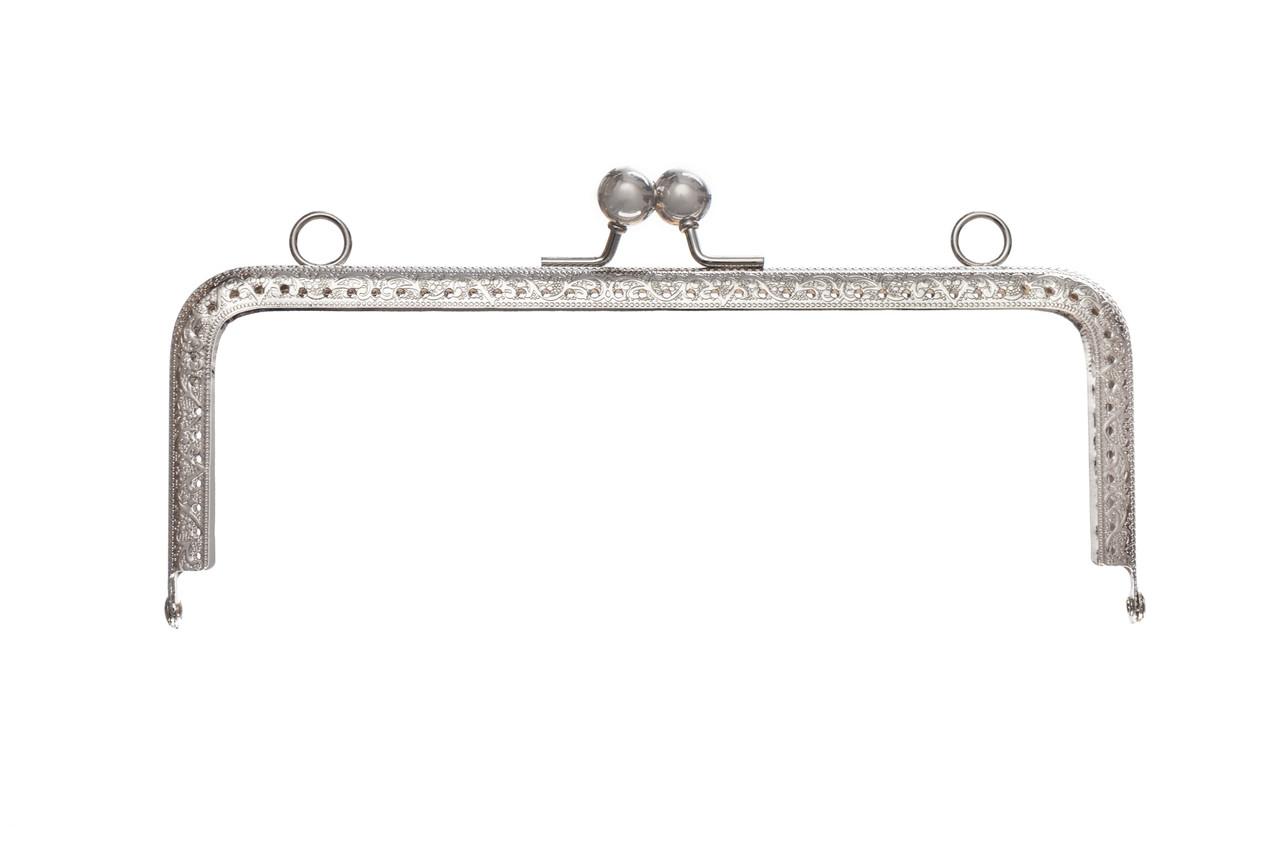Фермуар прямоугольный, с тиснением и двумя зажимами, 20,5 см Серебро