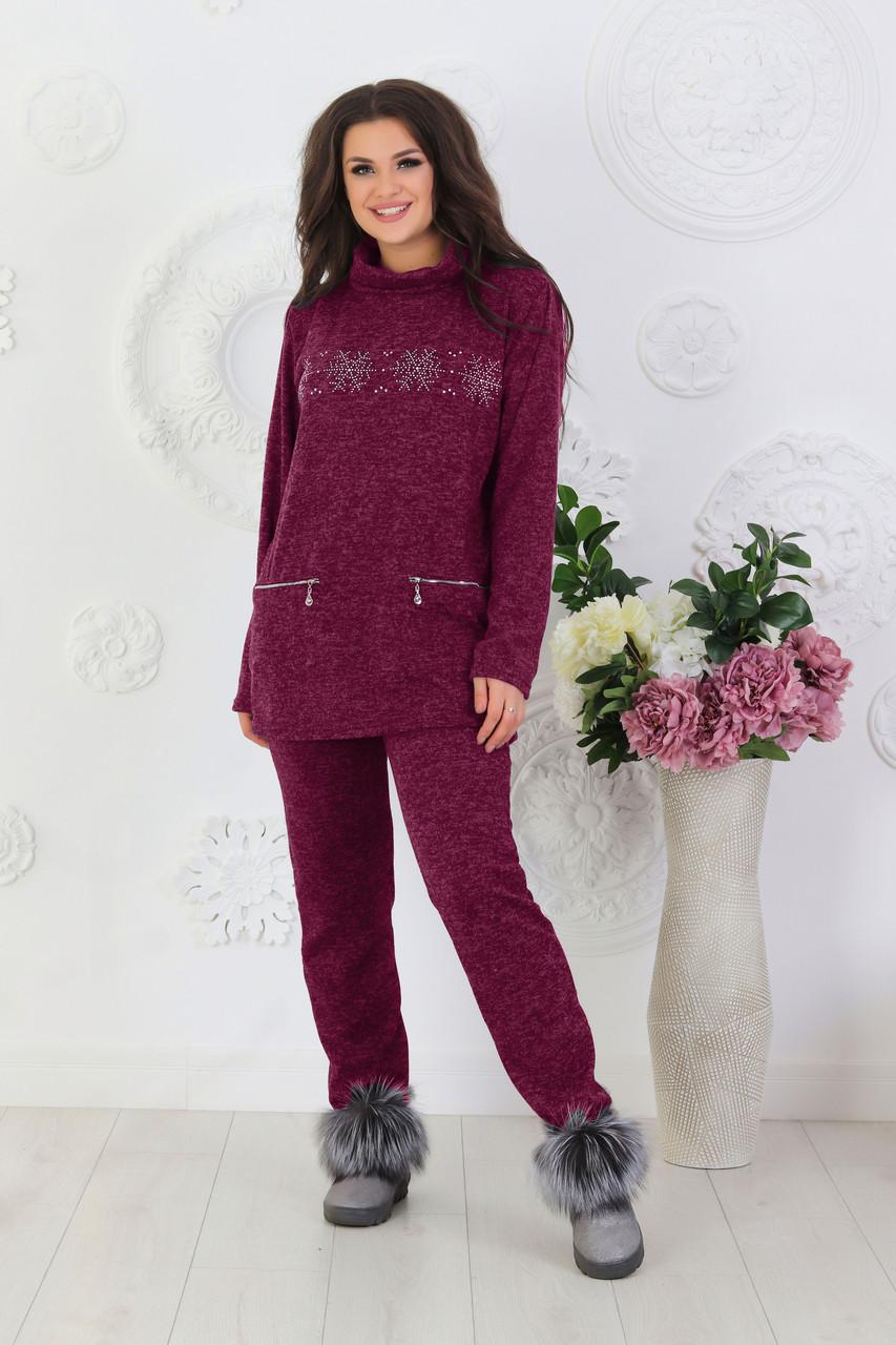 Собственное производство / Женский повседневный костюм со снежинками из ангоры, размеры от 48 до 62, подарок на новый год 52/54