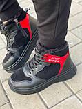 Тільки на 24,5 см! Жіночі кросівки ЗИМА / зимові чорні еко шкіра + замша, фото 2