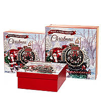 """Новогодние подарочные коробки """"Новогодний экспресс"""" набор 3 шт. Большие (28х28х10 см)"""