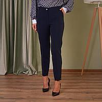 Классические однотонные темно - сине женские брюки со стрелками 46-58
