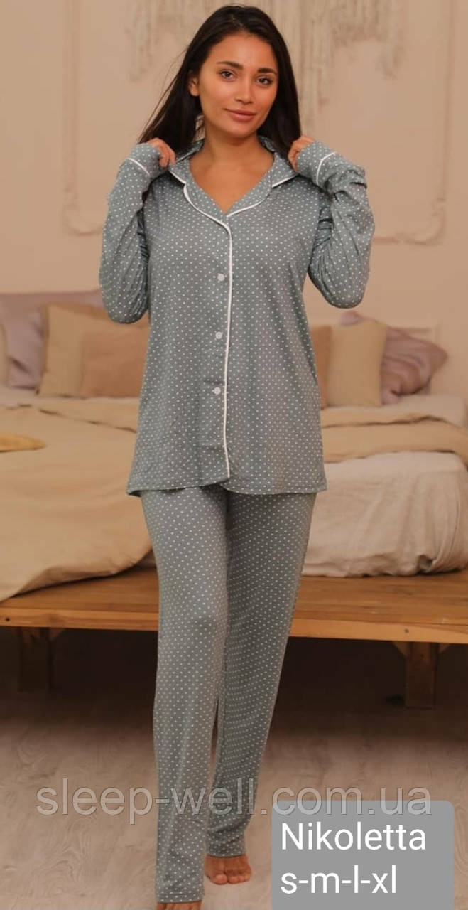 Стильна піжама з довгими штанами на гудзиках