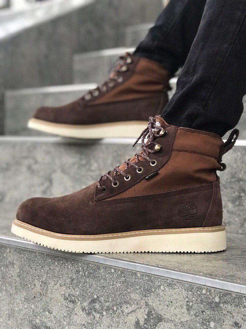 Мужские зимние ботинки Timberland brown termo (Реплика ААА)