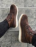Мужские зимние ботинки Timberland brown termo (Реплика ААА), фото 5
