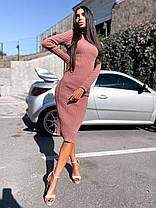 Сукня гольф нижче коліна в'язане з довгим рукавом, фото 3