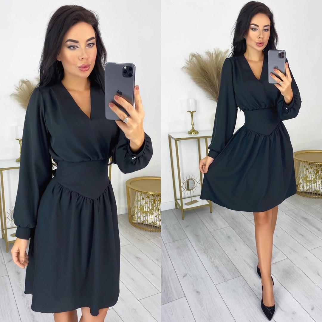 Женское платье до колен костюмная диагональ длинный рукав  размер: с-м,л-хл