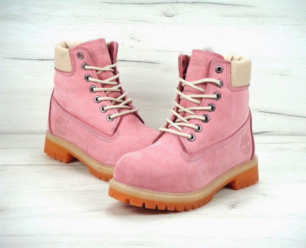 Женские зимние ботинки Timberland pink (Реплика ААА)