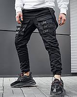 Теплые брюки карго мужские Огонь Пушка Fasten черные